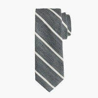 Extra-long English linen-cotton tie in thin stripe