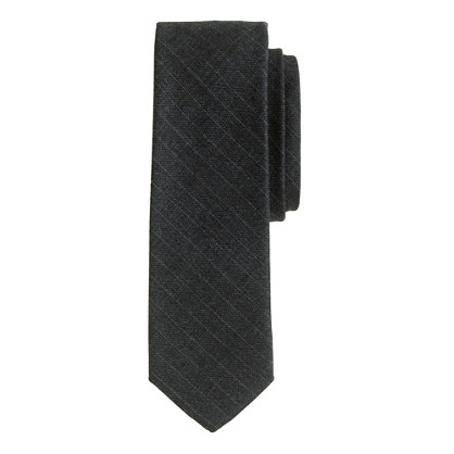 Italian wool tie in charcoal stripe