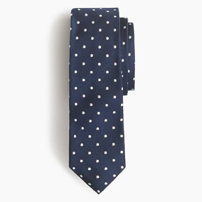 Extra-long Italian silk repp tie in dot