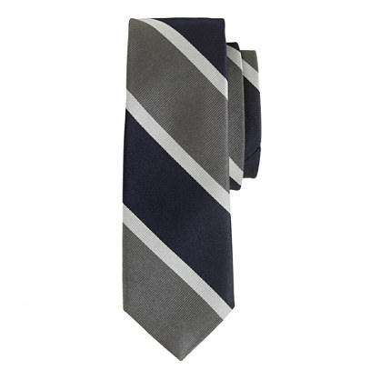 English silk tie in mercury grey stripe