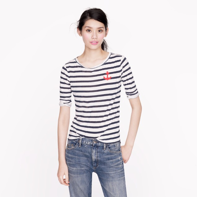 Elbow sleeve tee in stripe with anchor j crew for Elbow length t shirts women s