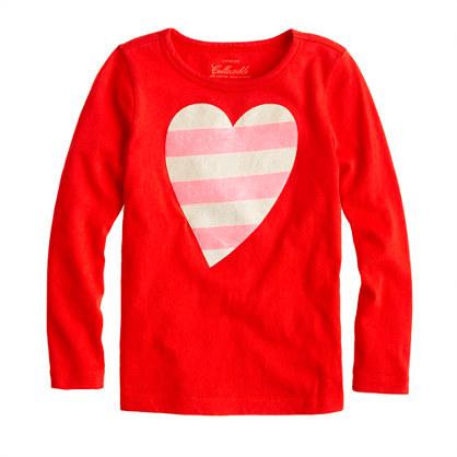 Girls' long-sleeve glitter-stripe heart tee