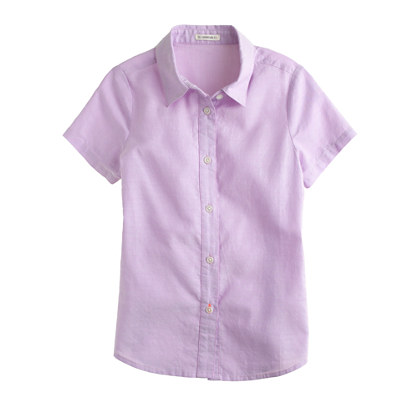 Girls' short-sleeve tissue oxford shirt