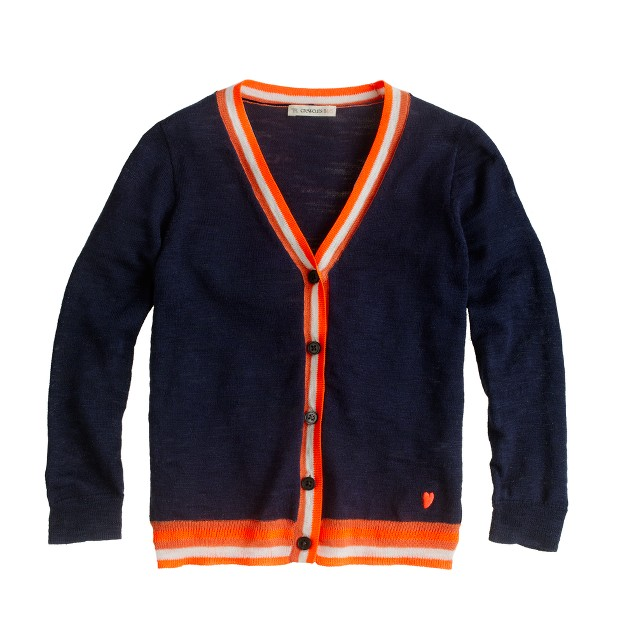 Girls' tipped neon V-neck cardigan