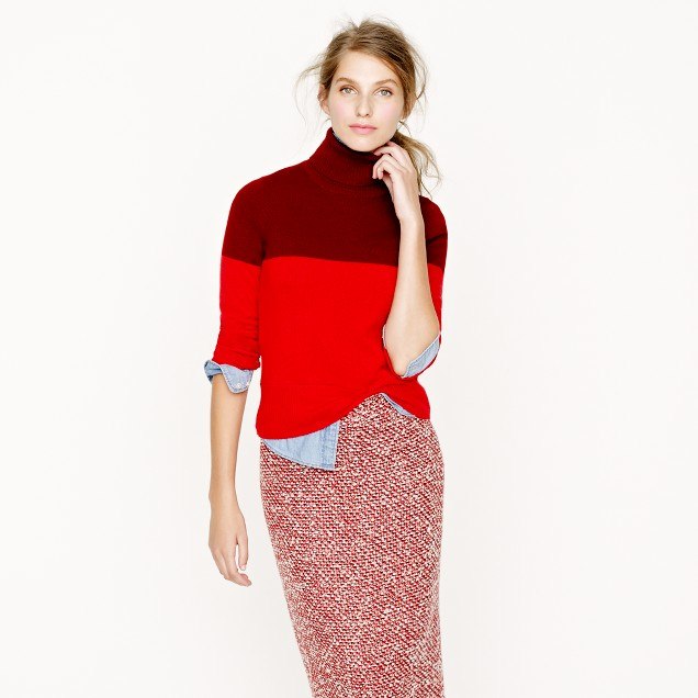 Collection cashmere colorblock turtleneck