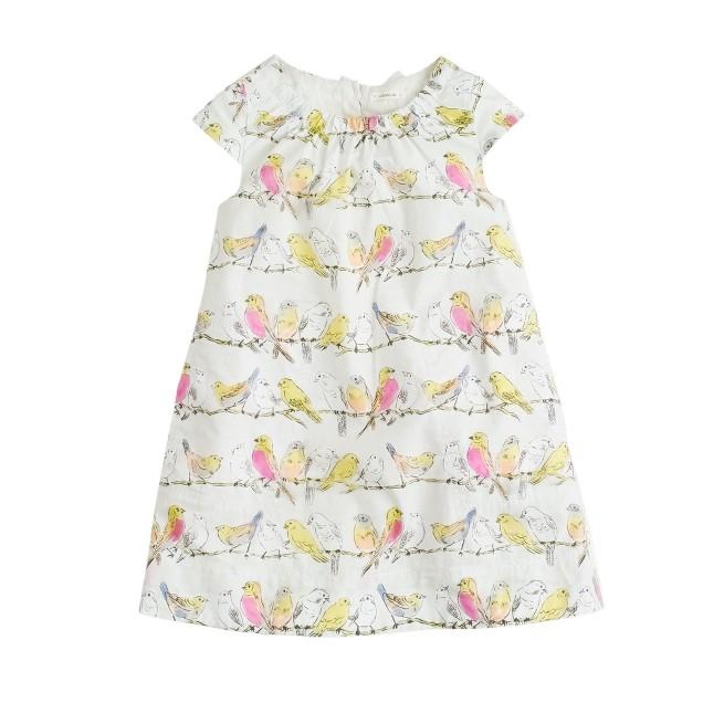 Girls' birdsong print dress