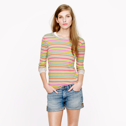 Collection featherweight cashmere Tippi sweater in multistripe
