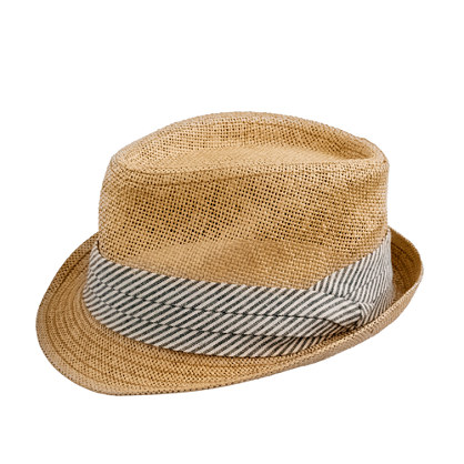Straw chambray trilby hat