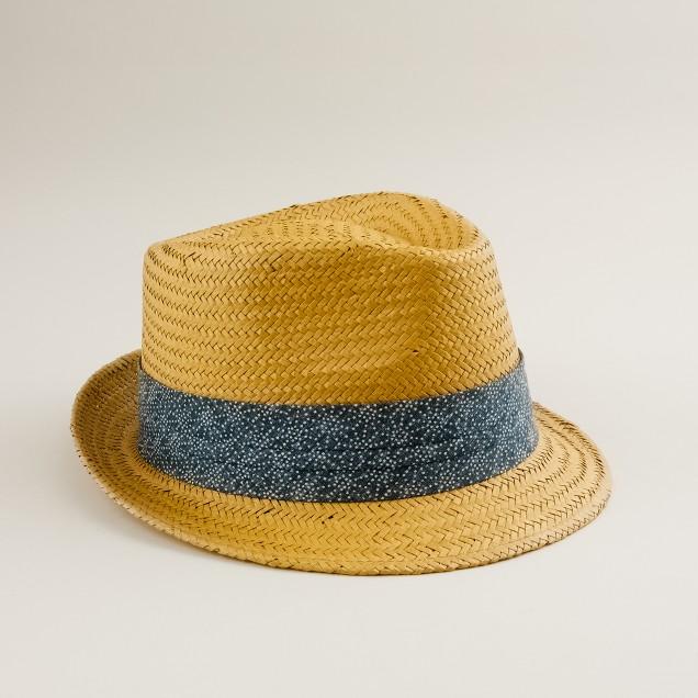 Straw ikat trilby hat