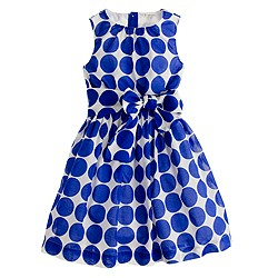 Girls' organdy bow dress in polka dot