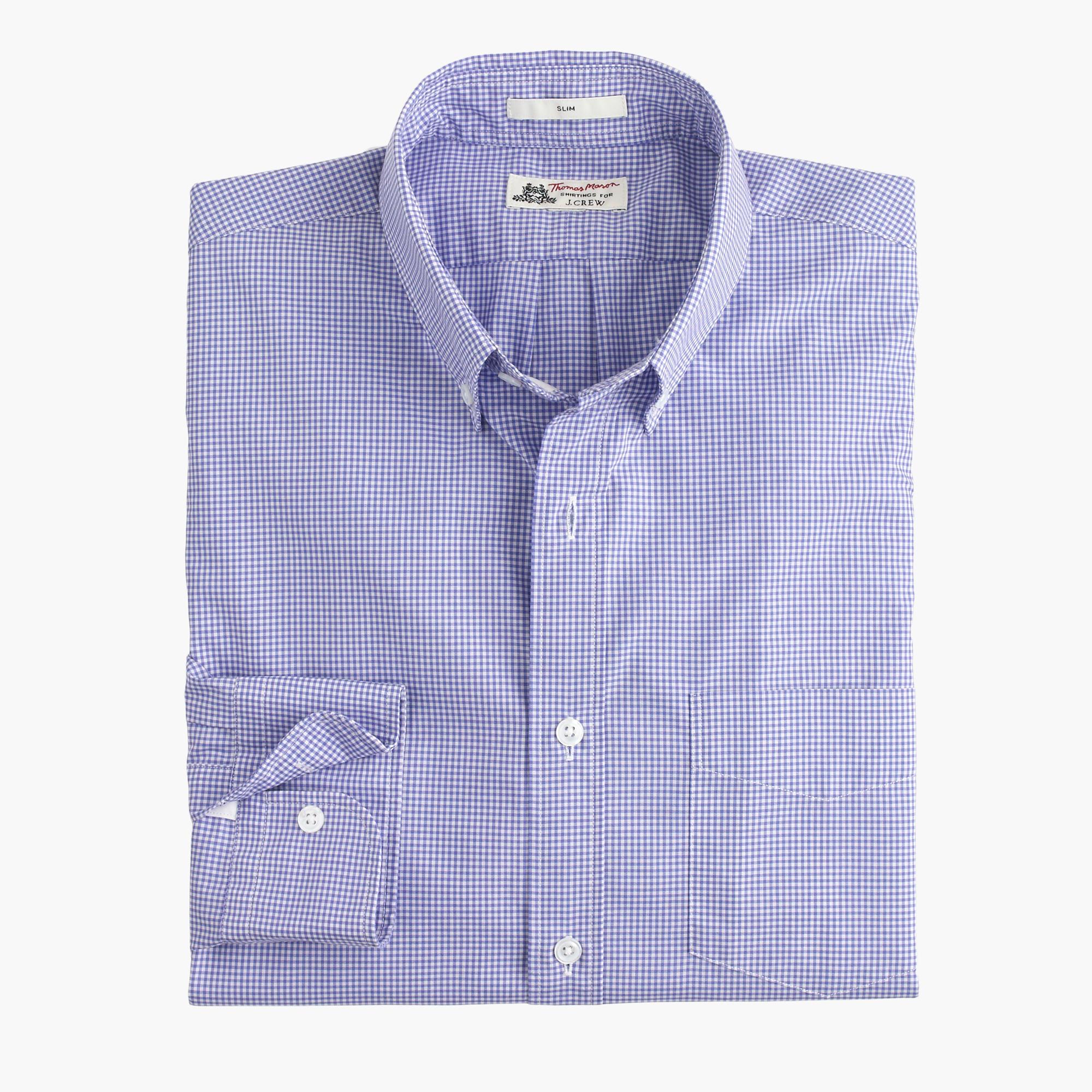 Slim thomas mason for j crew shirt in baltic mini gingham for Mason s men s shirts