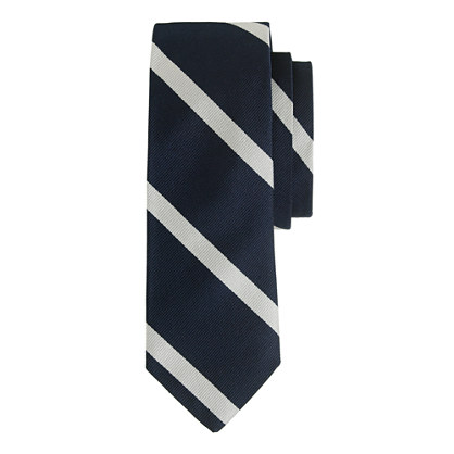 Extra-long English silk tie in diagonal stripe