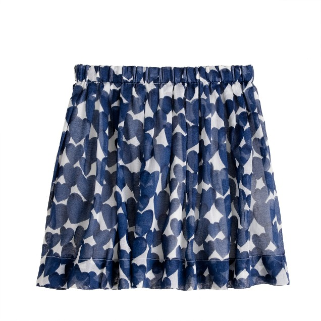 Girls' pull-on pleated skirt in amore print