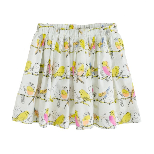 Girls' pull-on pleated skirt in birdsong print