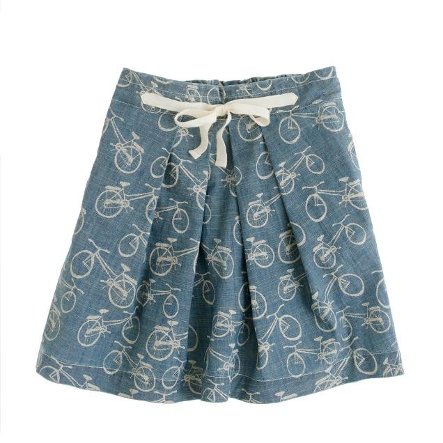 Girls' bicycle print chambray skirt