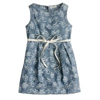 Girls' bicycle-print chambray dress