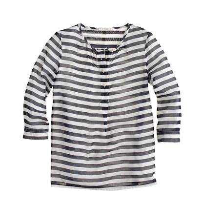 Girls' stripe organdy tunic