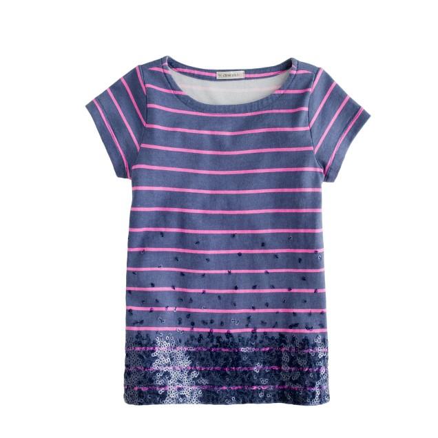 Girls' thin-stripe sequin tee