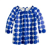 Girls' gathered top in polka dot