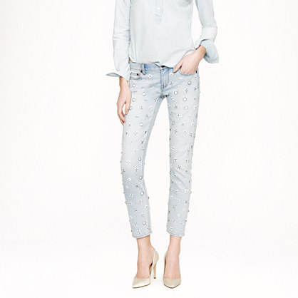Collection beaded cropped matchstick jean