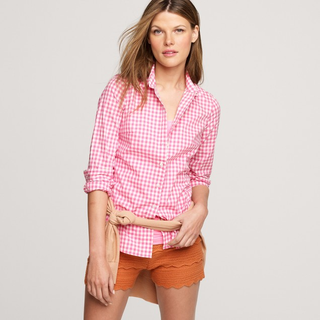 Petite perfect shirt in neon gingham