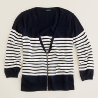 Merino stripe zip cardigan