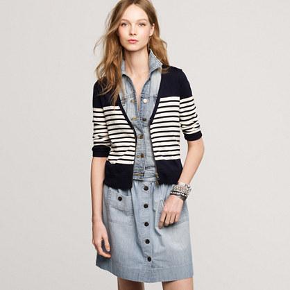 Merino stripe zip cardigan
