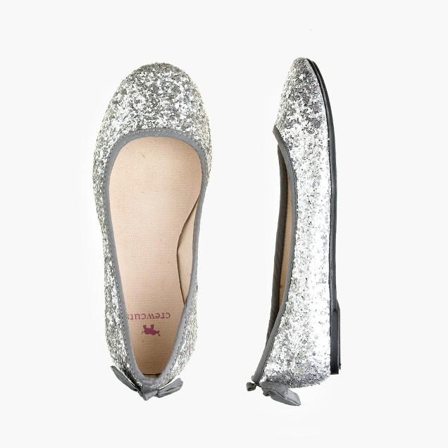 Girls' glitter bow ballet flats