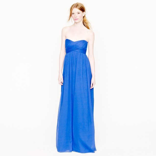 Petite Taryn long dress in silk chiffon