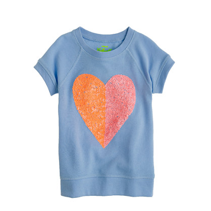 Girls' short-sleeve sequin heart sweatshirt