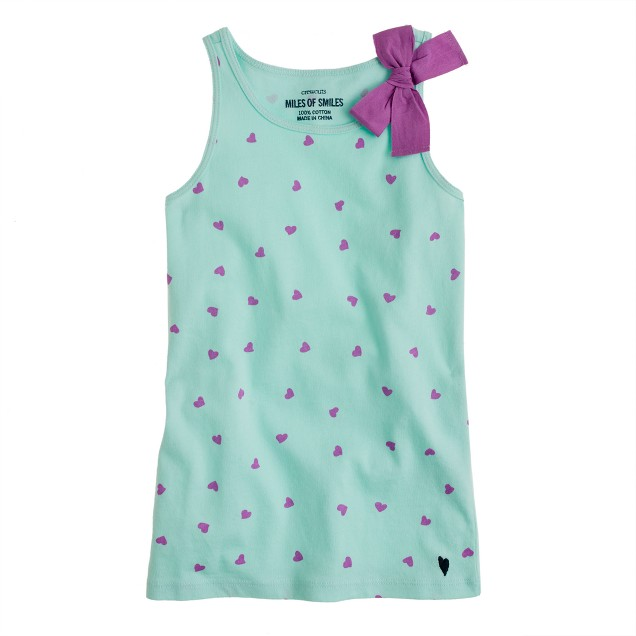 Girls' bow tank in hearts