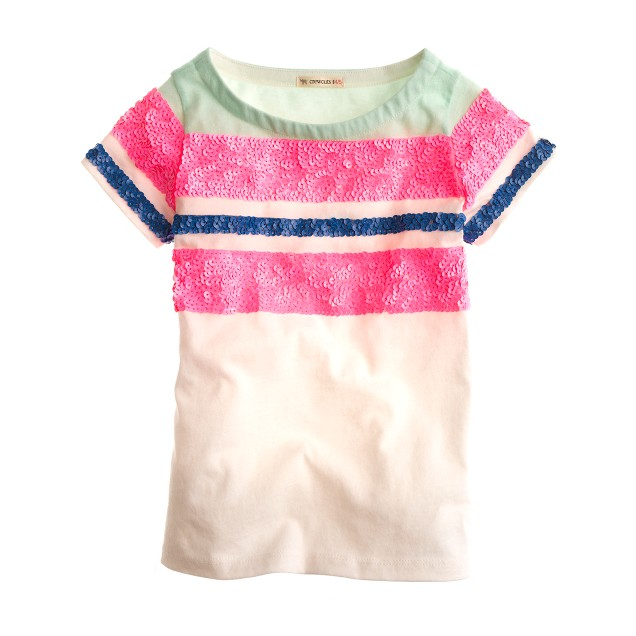 Girls' colorblock stripe-sequin tee