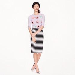No. 2 pencil skirt in navy-white stripe