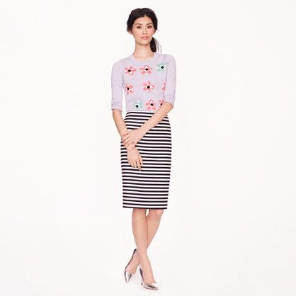 Petite No. 2 pencil skirt in navy-white stripe