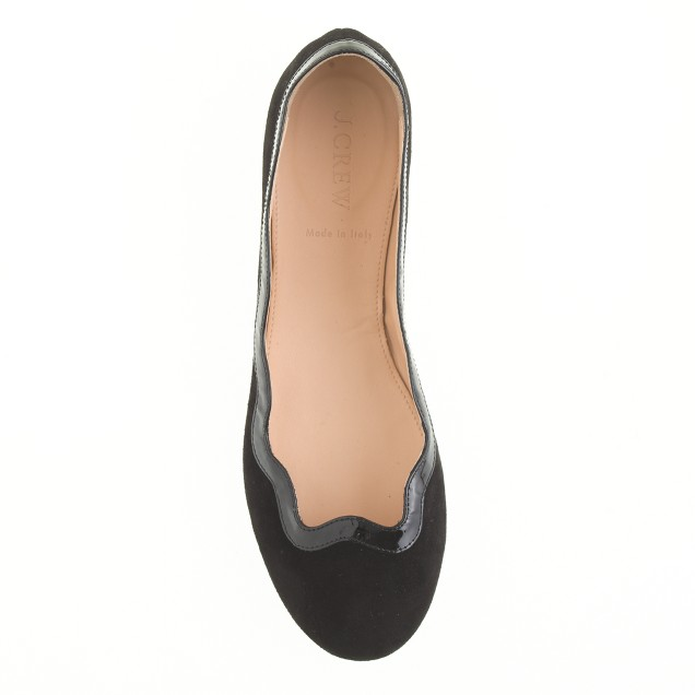 Scalloped suede ballet flats