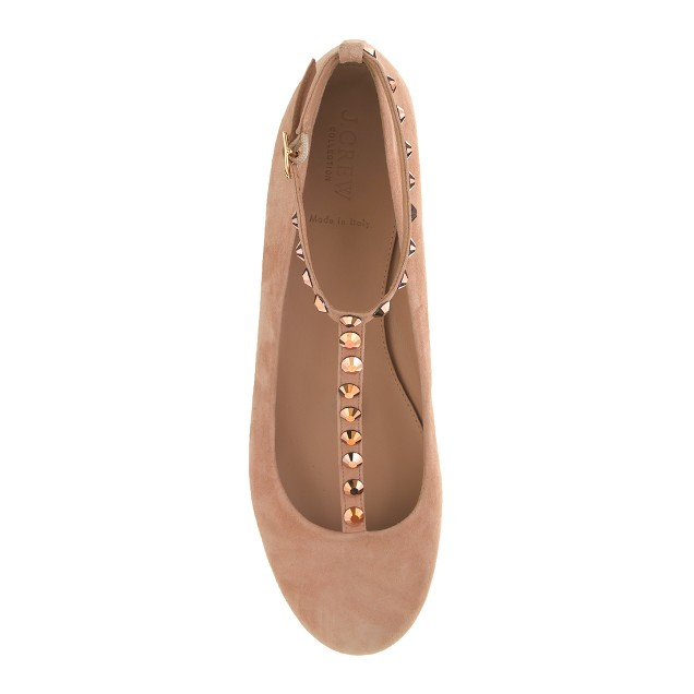 Collection rhinestone T-strap ballet flats
