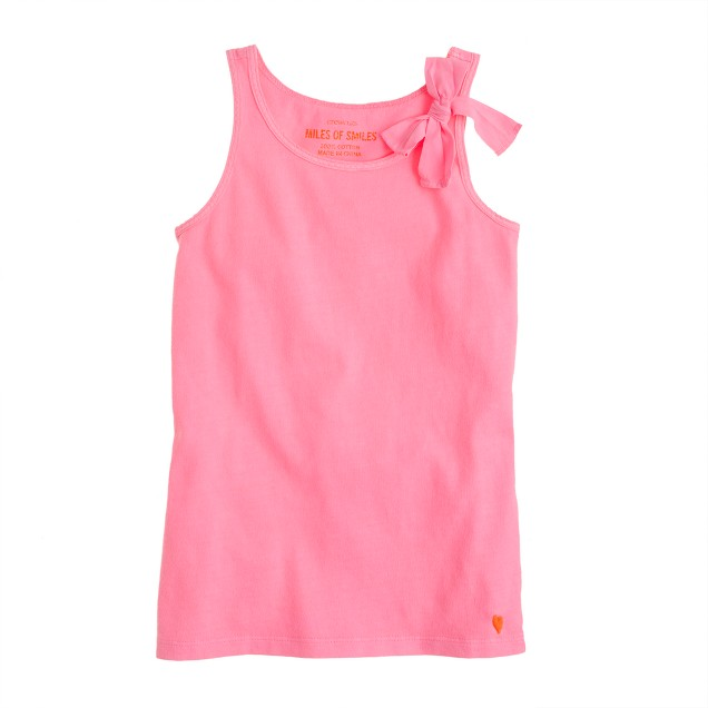 Girls' bow tank in neon