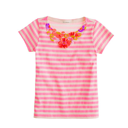 Girls' stripe floral necklace tee