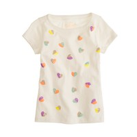 Girls' sequin hearts tee
