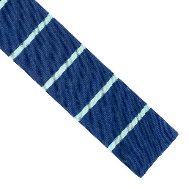 Knit tie in turquoise stripe