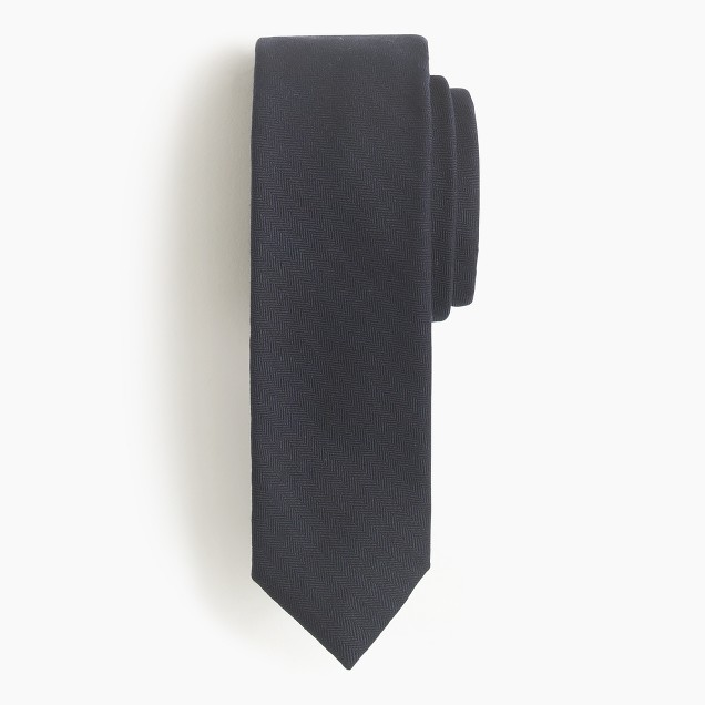 Italian wool tie in mini-herringbone