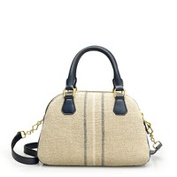 Biennial linen-leather medium satchel