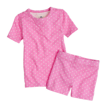Girls' short-sleeve sleep set in tiny hearts