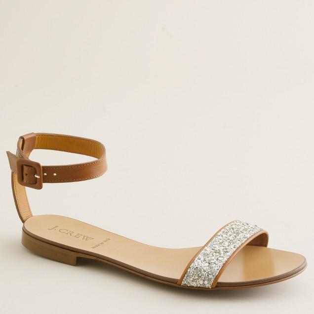 Crushed glitter sandals