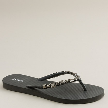 Antiqued stone flip-flops