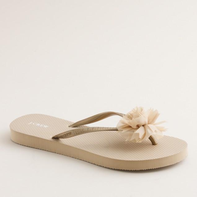 Jeweled chiffon flip-flops