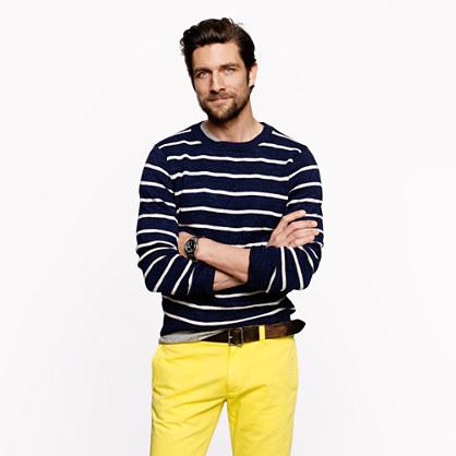 Cotton crewneck sweater in stripe