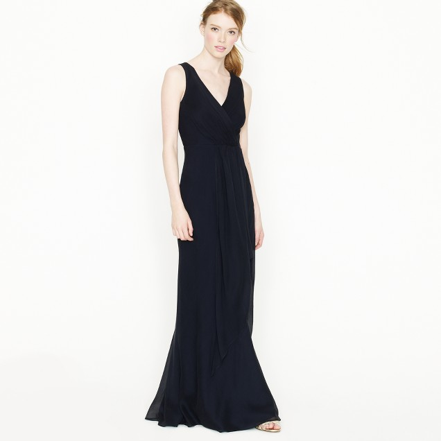 Evie long dress in silk chiffon