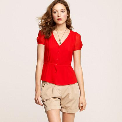 Silk peplum blouse