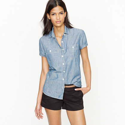 Short sleeve selvedge chambray shirt new arrivals j crew for Chambray shirt women